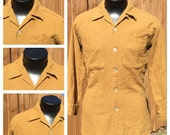 Vintage 1950s - 60s Long Sleeve VIRGIN WOOL Shirt - Made in The USA - Collar Loop & Horizontal Button Holes