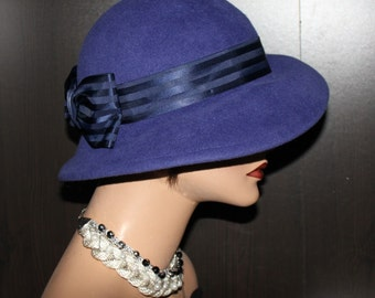 Retro Hat - 100% velour Rabbit - Blue