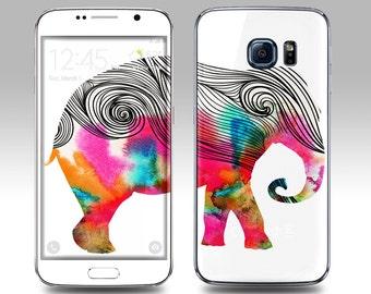 ELEPHANT WATERCOLOR Galaxy Decal Galaxy Skin Galaxy Cover Galaxy S6 Skin, Galaxy S6 Edge Decal Galaxy Note Skin Galaxy Note Decal Cover