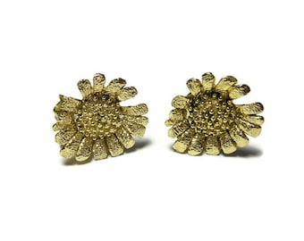 Gold sunflower earrings,  beautifully textured gold plated daisy figural clip earrings