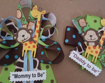 Blue JUNGLE theme Monkey and Giraffe baby shower pin/corsage set, Mommy and daddy mommy to be!!!