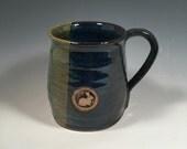 Pottery Mug -  Ceramic Coffee Cup - 16 oz - Ready to Ship - Monet Blue Green - Bunny Rabbit stamp  - ceramics - pottery - stoneware