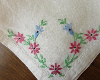 Set of Four Linen Hand Embroidered Vintage Napkins
