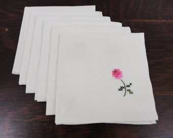 Set of 6 ALL Handmade Tea Party Napkins Rose Design