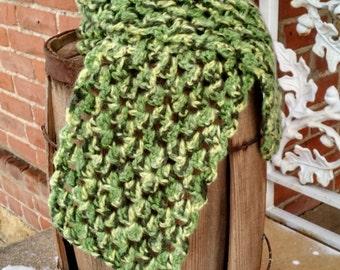 Wide Green Scarf Crocheted, Crochet Scarf in Shades of Green, Green Scarves Crocheted, Green Crocheted Scarves, Wide Crocheted Scarf