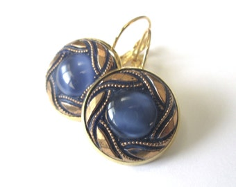 BLUE vintage button earrings, Czech glass buttons, gold lever backs