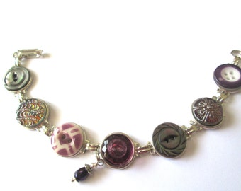 PURPLE antique button bracelet. 1800s china, glass and mother of pearl buttons, silver links