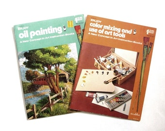 1970's Craftint Oil Painting and Color New Concept in  Mixing Art Instruction Book Set of Two