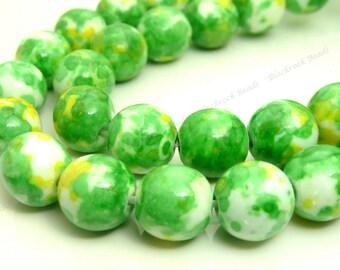 8mm Rain Flower Stone Ocean Jade Round Gemstone Beads - 24pcs - Lime Green, Yellow, White Beads - BG4