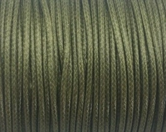 5 YARDS - 2MM Green Woven Braided Waxed Nylon Cording Trim #10