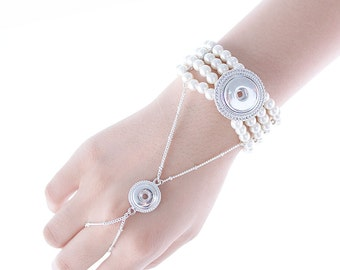 "1 Faux Pearl Ring Elastic Bracelet - 7"" White FITS 18MM and 12MM Candy Snap Charm Jewelry Silver Kc0606 Cj0606"