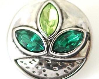 1 PC 18MM Plant Leaf Green Rhinestone Silver Snap Candy Charm ds5057 CC1355