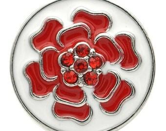 1 PC 18MM Red Enamel Flower Rhinestone Silver Candy Snap Charm kb7123 CC1723
