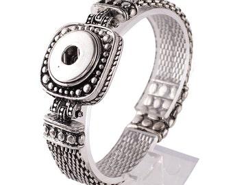 "1 Bracelet - 7.25"" FITS 18MM Candy Snap Charm Jewelry Silver Magnetic KC0909 CJ0424"