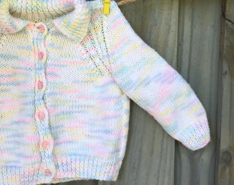 Vintage sweater Girl 2t-3t Pastel colors Cardigan
