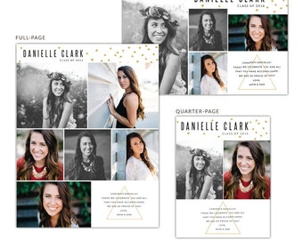 INSTANT DOWNLOAD - Senior Yearbook Ads | Danielle - Photoshop template - E1276