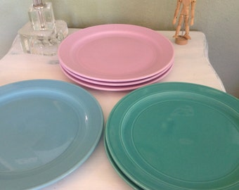 Vernon-ware, Dinner Plates Early California Pottery, Turquoise,  Mauve (Pink)