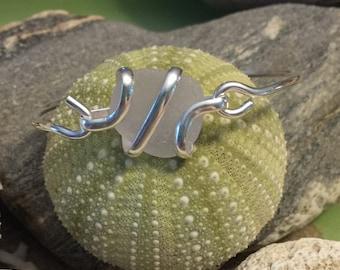 Sea glass jewelry- White Sea glass bracelet
