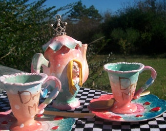 Alice in Wonderland Doll's Tea Set. Doll Prop. Alice Decor. BJD Accessory. Mixed Media Piece. Made-to-Order