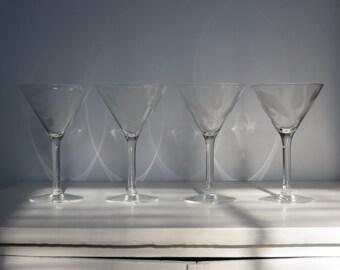 Vintage Martini Glasses Set of 4 - Etched Flower and Leaf