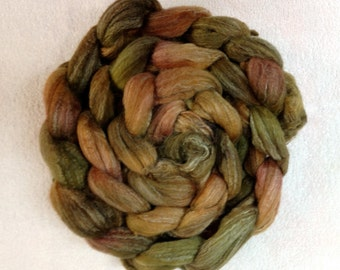 4 ounces Merino, Tussah silk and Bamboo roving