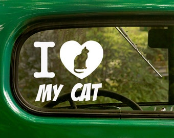 I Love My Cat Decal, Car Decal, Cat Decals, Vinyl Sticker, Cat Sticker, Laptop Sticker, Vinyl Decal