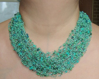 Sea Green air necklace. Multistrand necklace. Beadwork necklace