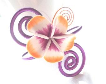 Aluminium Bracelet, Purple Bracelet, Orange Bracelet, Flower Bracelet, Floral Bracelet, Bridesmaid Bracelet, Wedding Bracelet, Gift For Her