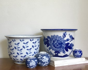 Vintage Blue White Chinoiserie Planter Decorative Ceramic Flower Pot Chinese Decor
