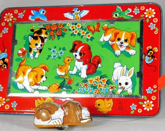 Vintage Tin Mechanical Playful Puppy by TPS, Japan, 50s NOS