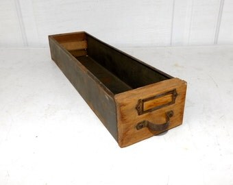 Wood Library Cabinet Drawer Wood And Metal Industrial Parts Primitive Decorative