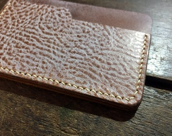 Hand stitched Minimalist wallet, Flap Wallet, Leather card holder, Business card wallet, Leather card case with Brushed Wax Cow Leather