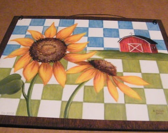 """Country Primitive Sunflower Wall decor sign 9x11"""""""
