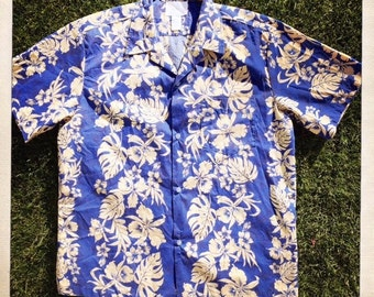 Vintage 70s Men's Blue HAWAIIAN Tropical HOWIE Orchid Shirt - Size Large