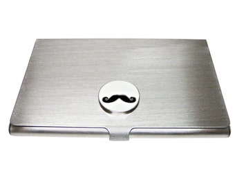 Round White Mustache Pendant Business Card Holder