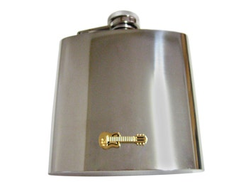 Gold Toned Guitar 6 oz. Stainless Steel Flask