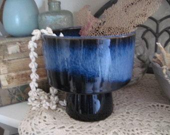 Vintage OMC Blue Pedestal Planter Ikebana Vessel Made in Japan