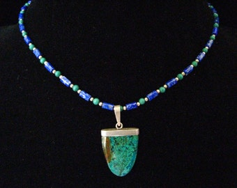 "SALE Sterling & Blade Shape Stone Pendant on Lapis and Malachite Necklace.  1970's Vintage.  15.5"" L"