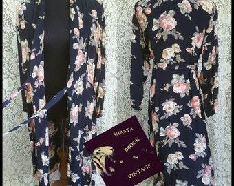 90s Long Floral Wrap Duster Dress - Grunge Revival Dress - Black Pink Calico Roses - Festival Fashion - Womens XL Plus Size Large Medium