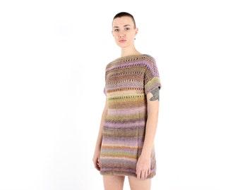 80s Pastel Rainbow HAND KNIT Crochet Sweater Top / Mini Tee Dress