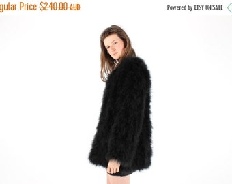 10,000 LIKES 7 Day Sale Full Marabou / Ostrich Feather Shaggy Mongolian Style Fur Rolling Stones Groupie / Club Kid / Almost Famous Black Sw