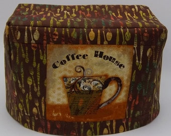 Coffee Theme Toaster Cover, Two Slice Toaster Cover