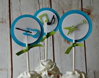 Rock n Roll Party Cupcake Topper