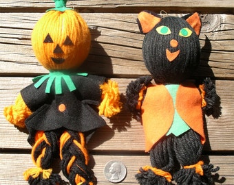 Vintage Halloween Decoration Dolls - Pumpkin and Cat Yarn Characters - Made In Japan Black Kitty and Scarecrow Ornaments