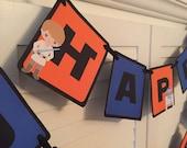 Star Wars Inspired Banner/ Star Wars Birthday Banner/ Star Wars Birthday/ Star Wars Party/ Blue/ Orange/ Black/Custom Name Banner