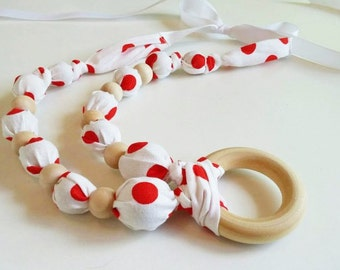Wood Bead Necklace with Ring - FREE SHIPPING - White and Red Polka Dot and Natural Wooden Beads - Nursing Teething, Made in USA, Red