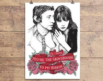 Serge Gainsbourg and Jane Birkin - Valentine's Greeting Card