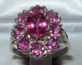 Solid 925 Sterling Silver Natural Pink Tourmaline Cluster Flower Ring English Vintage Style Anniversary Ring  Customizable