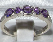 Solid 925 Genuine Amethyst Half Eternity Ring English Design Anniversary Band  Customizable