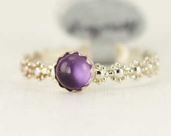Amethyst Stacking Ring - 5mm Light Amethyst Ring - Daisy Sterling Band